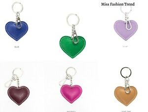 Ladies Leather Heart Keyring Plain New