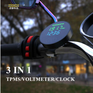 12V TPMS LCD Motorcycle Tire Pressure Monitoring System + 2 External Sensors