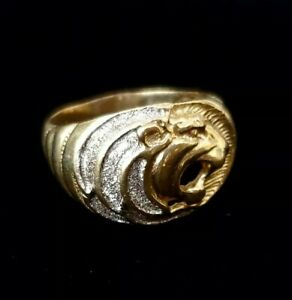 14K Yellow & White Gold Men's Roaring Lion Ring Two Tone Regal Figural  7.63g