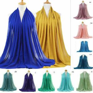 Women's Chiffon Plain Hijab Scarf Laides Muslim Head Shawl Wrap Shawl 180CM