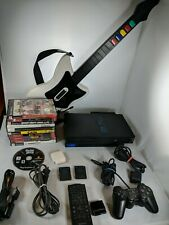 PS2 Playstation FAT CONSOLE HDD Controller Remote 11 Games Guitar Hero Tested