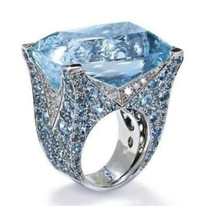 Hip Hop Elvis Star Concert Light Blue Austrian Crystal Silver Aloha Men Ring