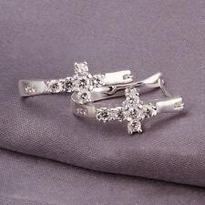 Women Silver Plated Elegant Clear Crystal Cross U Style Cross Hoop Stud Earrings