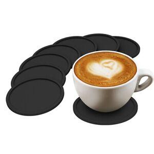 7 pcs Silicone Rubber Coasters Black Non Slip Round Coffee Mugs Drink
