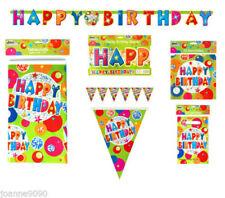 Pancartas y guirnaldas de fiesta de plástico de cumpleaños infantil