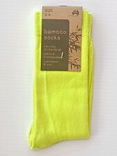 3 PAIRS SZ 3-8 AUSTRALIAN MADE LADIES FLURO YELLOW BAMBOO DRESS SOCKS