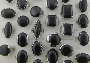 Wholesale Jewelry Lots 45pcs Black Natural Stone Women Lady's Rings EH597