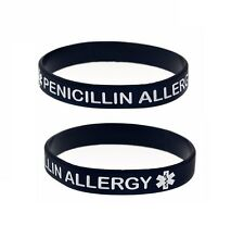 X2 Black PENICILLIN ALLERGY Awareness Silicone Wristband Medical Alert Bracelet