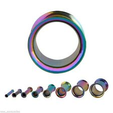 Tunnels 02.5mm/10 Gauge Body Jewelry Pair-Titanium Ip Rainbow Double Flare Ear