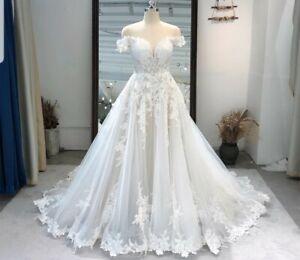 UK white Ivory Bridal Lace A Line Off Shoulder Champagne Wedding Dress Size 6-22