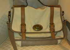 FOSSIL CANVAS & LEATHER MESSENGER CROSSBODY BAG IVORY W/TAN LEATHER