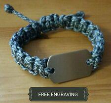 FREE ENGRAVING (PERSONALIZED) Paracord Bracelet ACU Military Camo Army JROTC