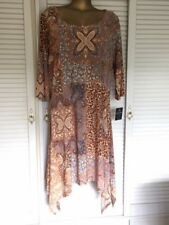 Mlle Gabrielle Dress Paisley Print Caramels Blue, Round Neck 3/4 Sleeves Size 2X