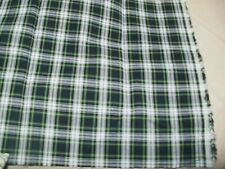 "Tartan Design Poly Cotton Fabric Remnant 16.5"" x 20"" Green,Black,White"