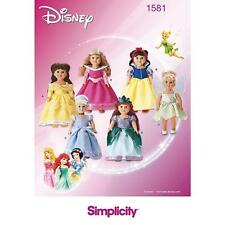 SIMPLICITY SEWING PATTERN DISNEY DOLL CLOTHES ARIEL SNOW WHITE BELLE  1581
