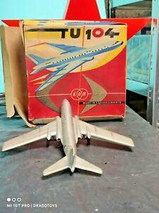 VINTAGE TOY AIRPLANE TU 104 JET FRICTION KDN CZECH REPUBLIC ORIGINAL BOX WORKS