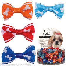ROMEO BONE HAIR BOWS DOG SATIN GROSGRAIN Spring Clip Back Ribbon Grooming 48pc