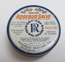 Vintage 1960's SMITH'S ROSEBUD SALVE Tin ~ Pat. 1908 ~ U.S.A. ~ Great Graphics