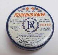 Vintage 1960's SMITH'S ROSEBUD SALVE Tin ~ Pat. 1908 ~ U.S.A. ~ Great Graphics