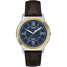 Timex T2P521, Men's, Black Leather Watch, Blue Dial, Indiglo, Date T2P5219J
