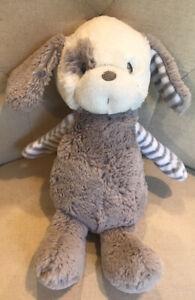 """Ebba GRAYSON Aurora Wrld PUPPY DOG Gray/Wht 11"""" Plush Stffd Animal Stripes Toy"""