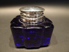 Antique Style Large Heavy Glass Square Cobalt Blue Inkwell Ink pot Bottle