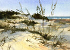 MATTED PRINT or GREETING CARD of a Watercolor by Linda Henry - Sand Dunes Beach