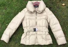 Warm Beige Jaeger Puffy Quilted Down/Feather Filled Jacket with Belt - Small