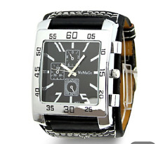 Funky and Chunky Large Black / Silver Mens / Ladies Fashion Quartz Watch.New