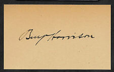 Benjamin Harrison Autograph Reprint On Original Period 1890s 3X5 Card