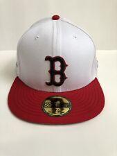 NEW ERA Boston Red Sox 59FIFTY 7 3/8 Hat Cap MLB Baseball White Red Chroma