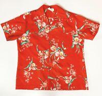 Vintage Royal Hawaiian Aloha Shirt Red Floral Tropical Men's Large