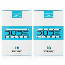 Dude Shower Body Wipes,Portable Travel-Sized Individual Cleansing Cloths for Men