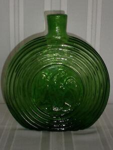Retro Vintage American Eagle Circular Green Glass Genie Bottle 1960-70's