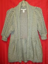 Women's American Rag Shawl Collar Open Front Cardigan Sweater Gray Size L