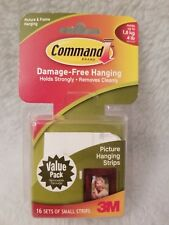 NEW & SEALED 3M Command Picture Frame Hanging Small Strips White 16 Sets 4 lbs