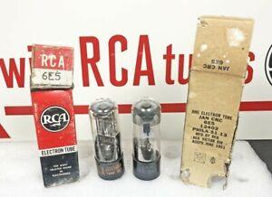 Pair NOS RCA 6E5 Tuning Eye Tubes – One CRC JAN (816) 2