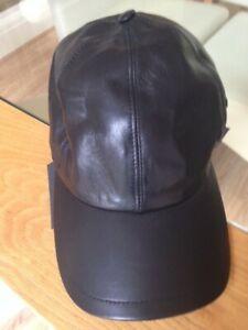 Versace Black Leather Logo Baseball Style Cap Size 57 CM New