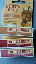 Burts Bees Lip Balm x3, Strawberry Fraise, Pink Grapefruit & Honey.