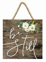 Be Still Peonies Dark Brown 7 x 7 Inch Wood Pallet Wall Hanging Sign Home Decor