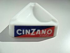 Vintage CINZANO White Glass Triangle Ashtray Made in Italy
