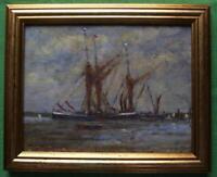 Old Barges Pinmill : Original Framed Impressionist Oil Painting David Baxter