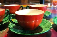 "VTG Maruhon Ware -Japan ""Tomato Ware"" Teacup & Saucer -Set of 4 CUPS-5 PLATES"
