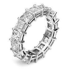 4.50 Ct. Princess Cut Real Diamond Eternity Band Ring Platinum 950, G/H, Vs1/Vs2