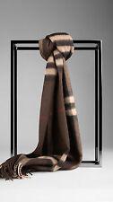 NWT BURBERRY Men's Giant Check 100% Cashmere Scarf Muffler Dark Chestnut Brown