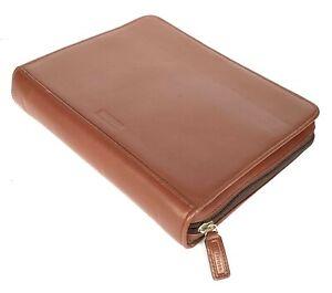 "LEVENGER Tan Leather Portfolio SMALL Notebook Zip Around 7"" x 8"" TRAVEL CASE"