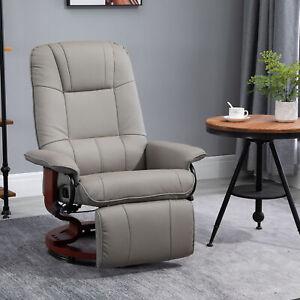 HOMCOM Ergonomic Office Recliner Sofa Chair PU Leather Armchair Lounger Grey