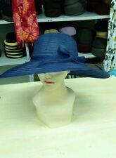 cappello blu elegante cerimonia taglia unica paglia hat cocktail donna mar 46889578b941