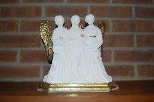 Vintage Trio Angel Candle Holder Candelabra White Gold & Ceramic