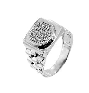 Men's Signet lab Diamonds 925 Sterling silver Ring 12X Rhodium pl Russian Cool